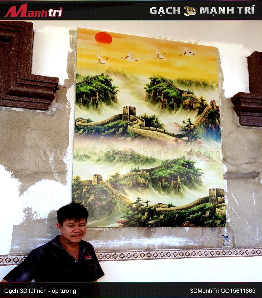 Gạch 3D vân nổi ốp tường nhà anh Minh Nhơn Trạch, Đồng Nai