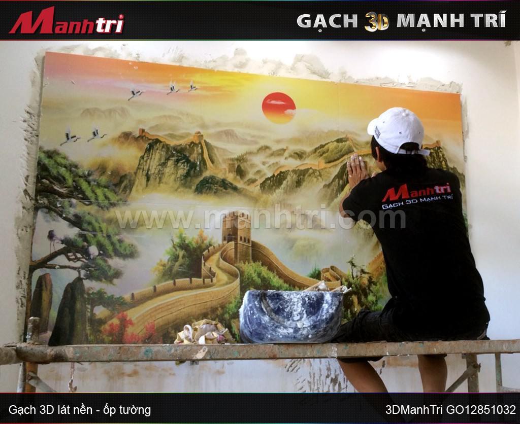 Gạch 3D vân nổi ốp tường nhà Chú Thái Xuân Quế - Đồng Nai