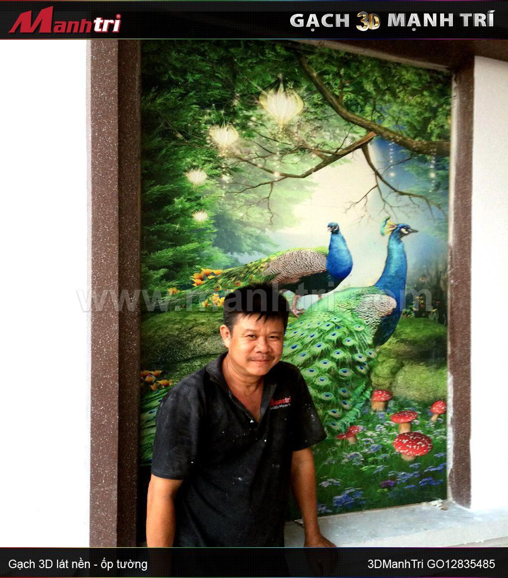 Công trình gạch 3D vân nổi tại nhà Anh Hoàng Long Khánh Đồng Nai