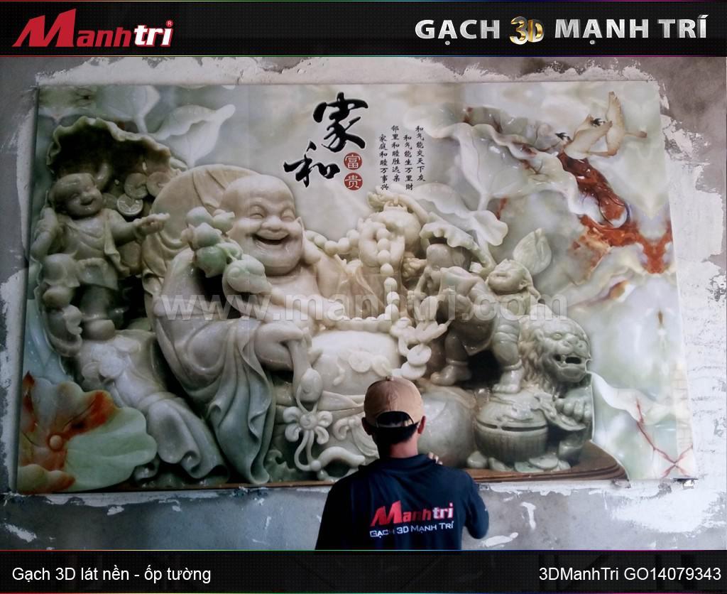 Gạch 3D hình phật ốp tường nhà anh Hoàng, quận Tân Phú, HCM