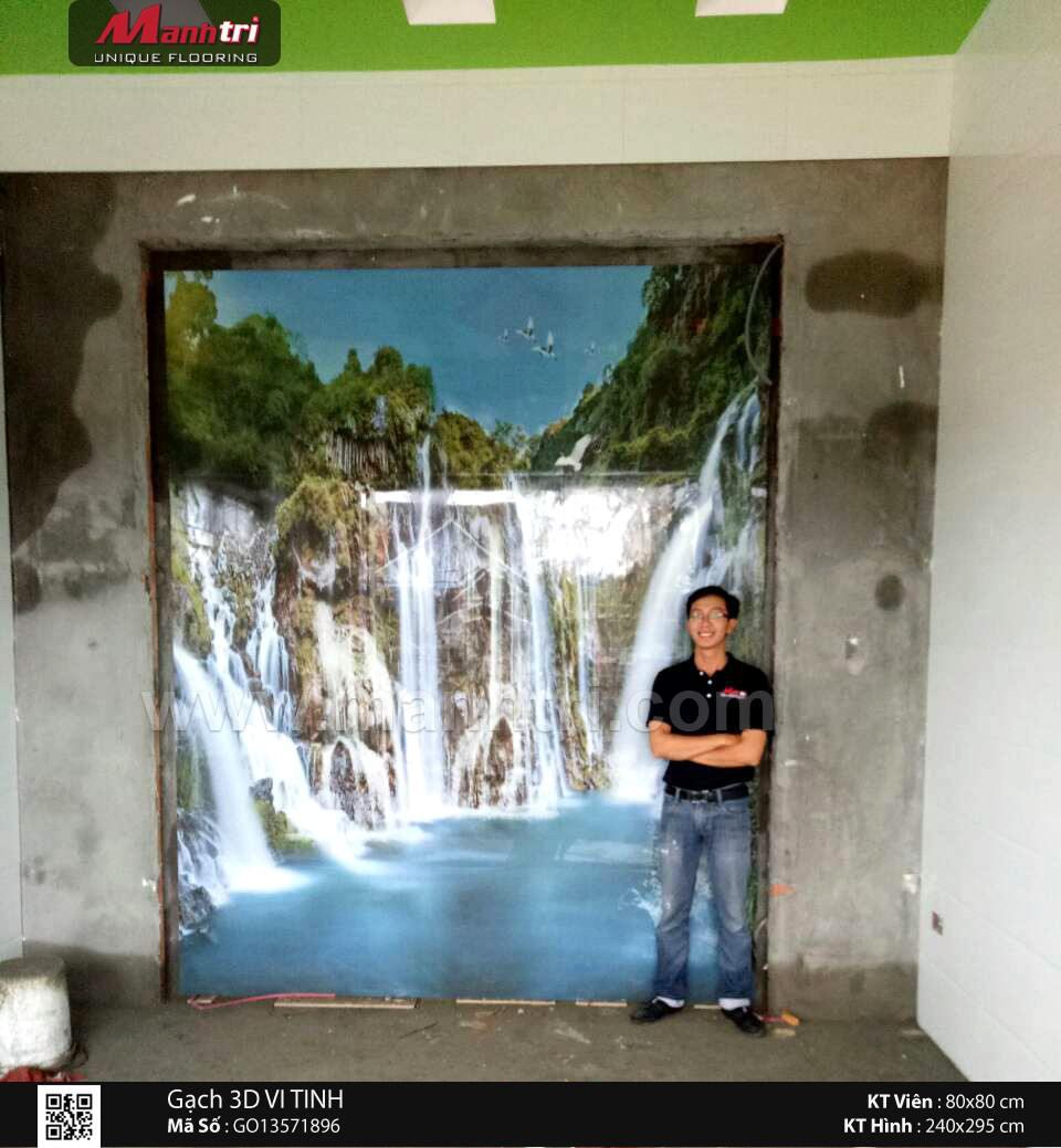 Gạch 3D phủ vi tinh ốp tường nhà Chị Chi ở Quy Nhơn
