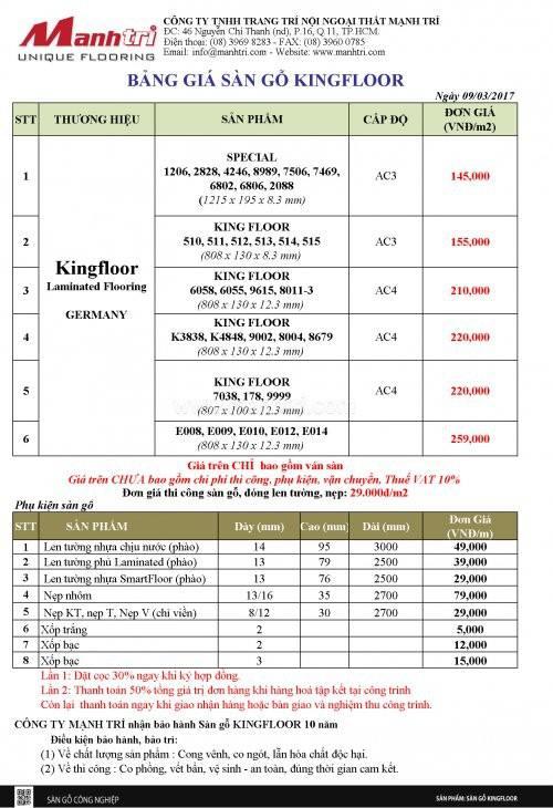 Bảng giá sàn gỗ Kingfloor