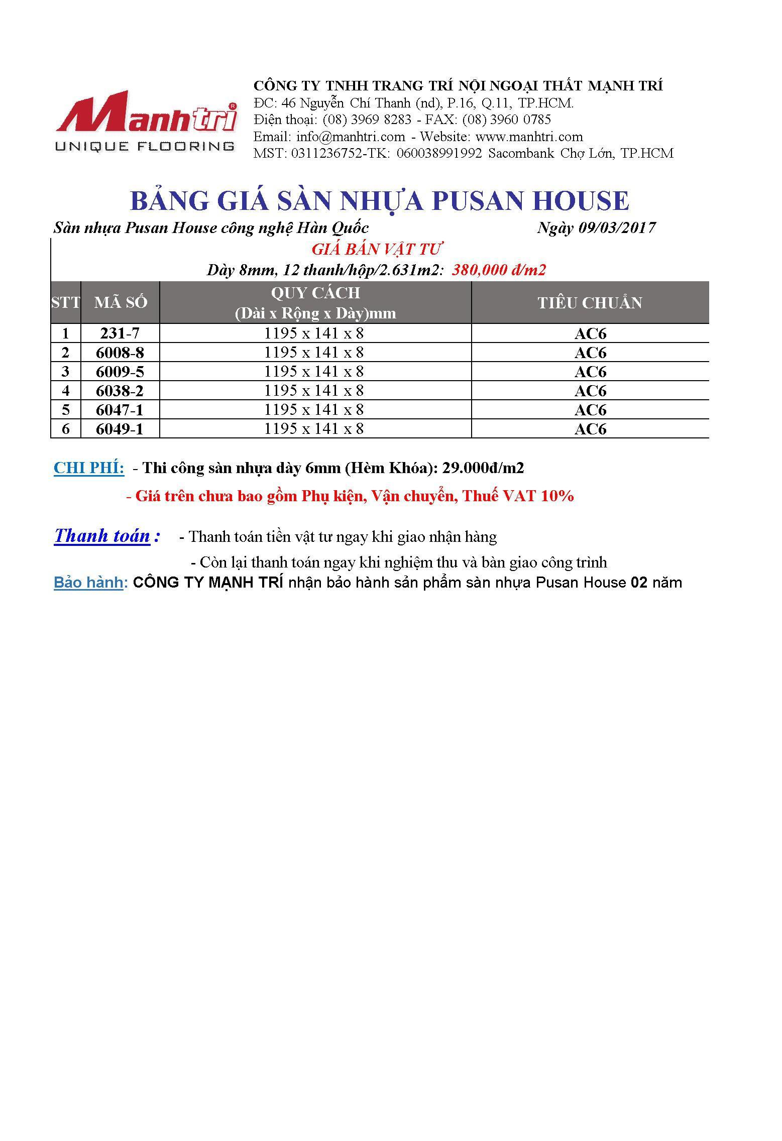 Giá sàn nhựa Pusan House