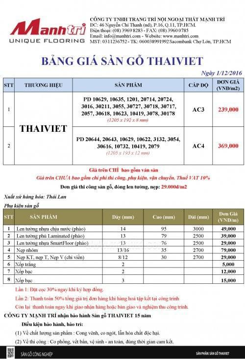 Bảng giá sàn gỗ Thái Việt