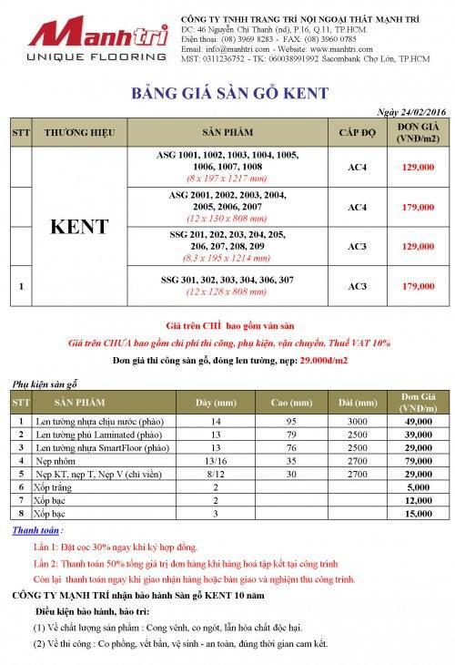 Bảng giá sàn gỗ Kent