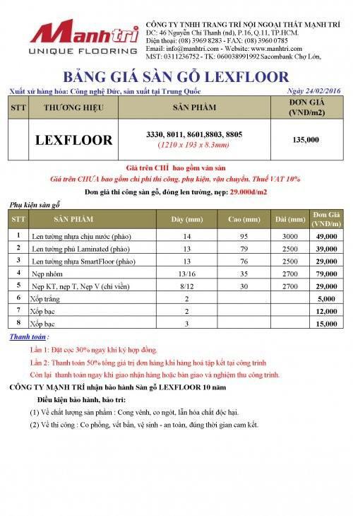 Bảng giá sàn gỗ LexFloor