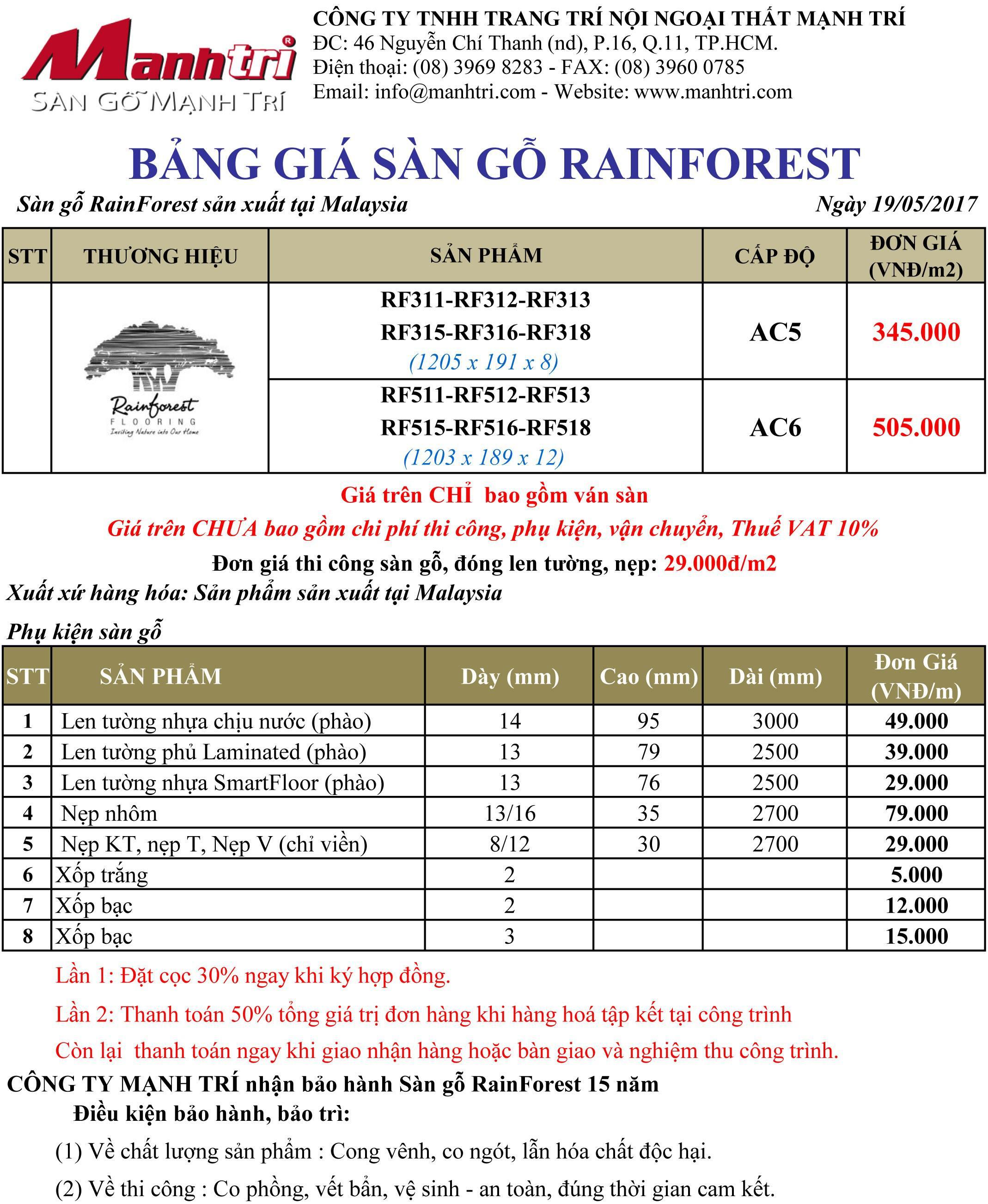Bảng giá sàn gỗ RainForest