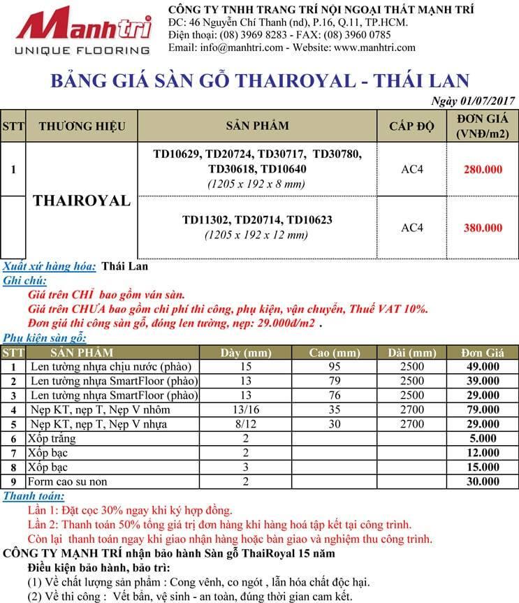 Bảng giá sàn gỗ ThaiRoyal