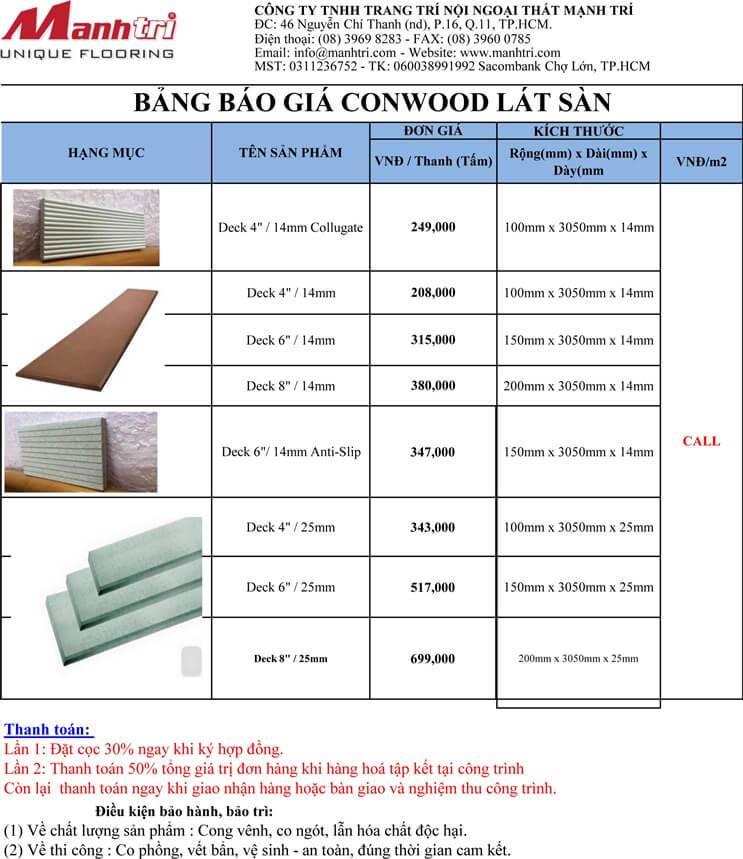Báo giá gỗ Conwood lát sàn