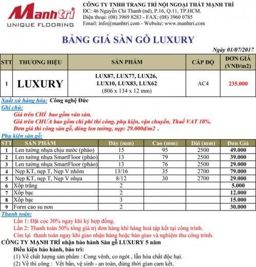 Bảng giá sàn gỗ Luxury