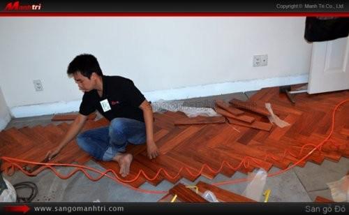 Dự án thi công gỗ tự nhiên Gõ Đỏ kiểu xương cá tại quận 1 TPHCM (lần3)