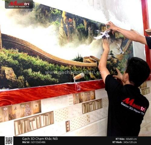 Gạch 3D vân nổi ốp tường nhà Chị Dinh quận 6, HCM