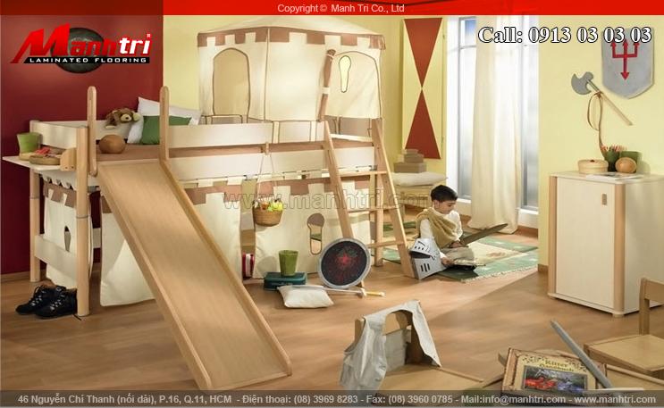 Hình ảnh sàn gỗ công nghiệp lót sàn phòng Baby