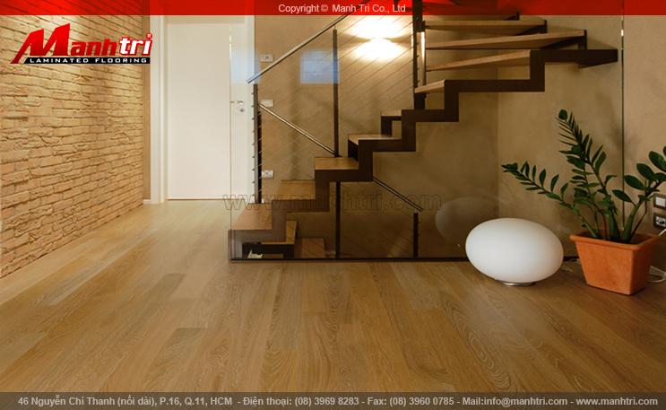 Hình ảnh sàn gỗ công nghiệp lót sàn nội thất