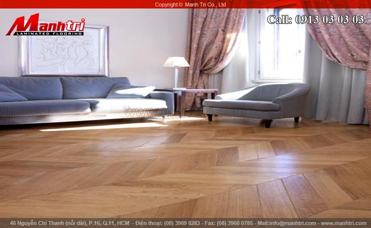 Hình ảnh sàn gỗ trong nhà lắp đặt kiểu xương cá