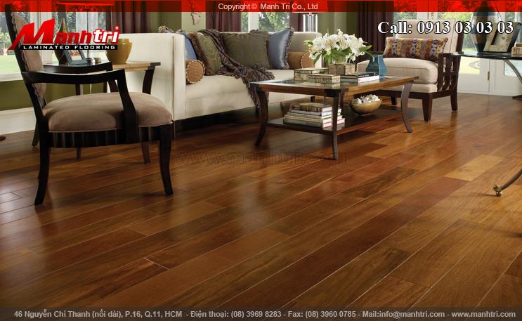 Hình ảnh sàn gỗ công nghiệp lắp đặt phòng khách