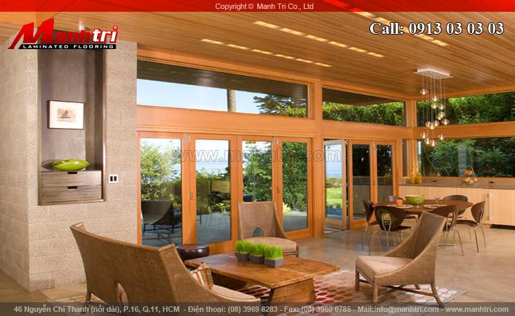 Hình ảnh gỗ tự nhiên ốp trần phòng khách