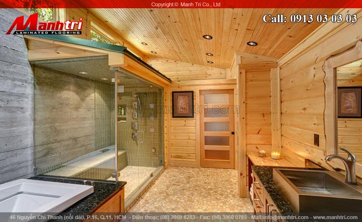 Hình ảnh gỗ tự nhiên ốp trần và ốp tường nhà