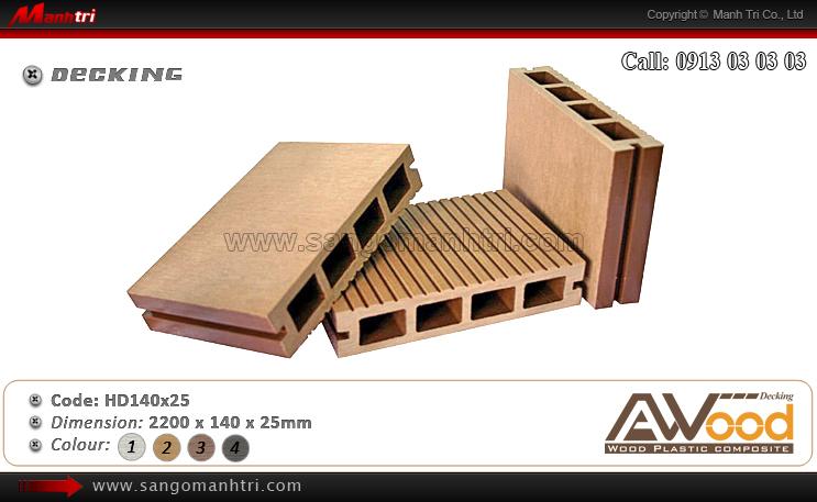 Mẫu gỗ ngoài trời Awood HD140x25