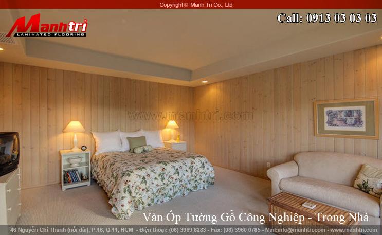 Hình ảnh gỗ ốp tường công nghiệp phòng ngủ