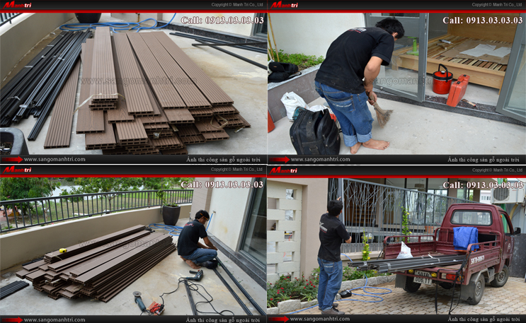 Giai đoạn đầu của việc lắp đặt gỗ trên ban công