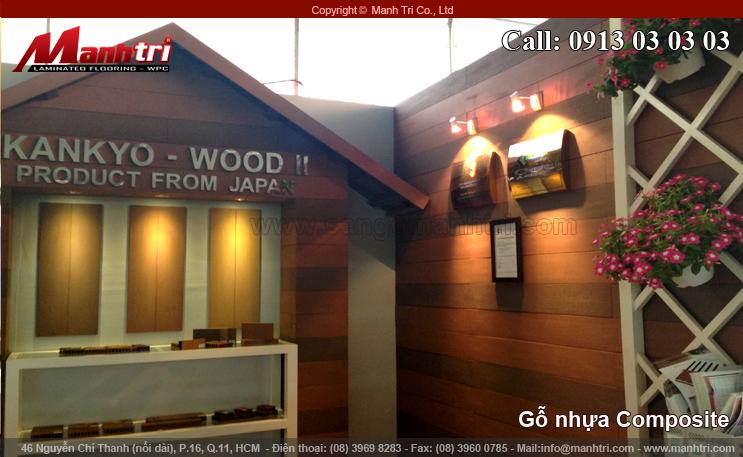 Gỗ nhựa Composite làm gỗ ốp tường và ốp trần tại VietBuild