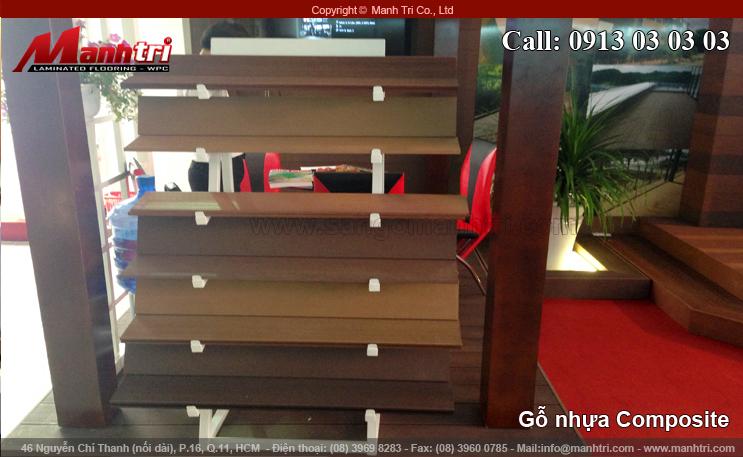 Hình ảnh gỗ nhựa Composite dùng trang trí gian hàng triển lãm VietBuild