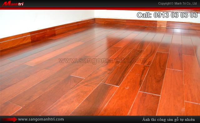 Hình ảnh sàn gỗ tự nhiên khi thi công hoàn thiện
