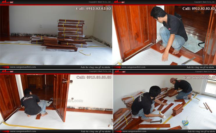 Những hình ảnh chuẩn bị lót sàn bằng gỗ tự nhiên
