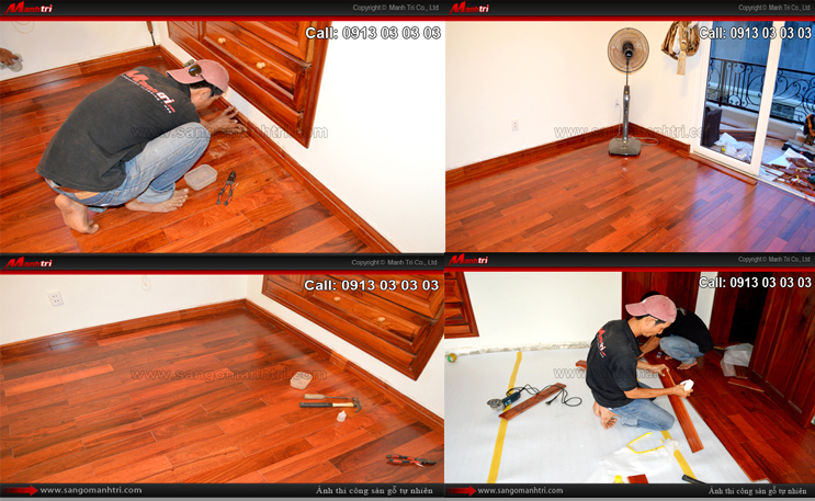 Hình ảnh nhân viên thi công Mạnh Trí lắp đặt gỗ tự nhiên và khi hoàn thiện