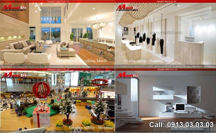 Sàn gỗ phòng Shopping và phòng khách cùng gỗ công nghiệp