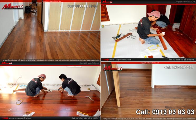 Hình ảnh sàn gỗ tự nhiên lót sàn trong nhà