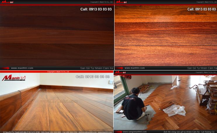 Hình ảnh mẫu gỗ và sàn gỗ tự nhiên Căm Xe