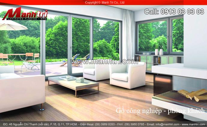 Hình ảnh sàn gỗ công nghiệp phòng khách