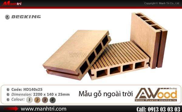 Hình ảnh mẫu gỗ nhựa Awood HD140x25 dùng lót sàn Cafe