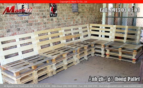 Hình ảnh ghế gỗ thông Pallet