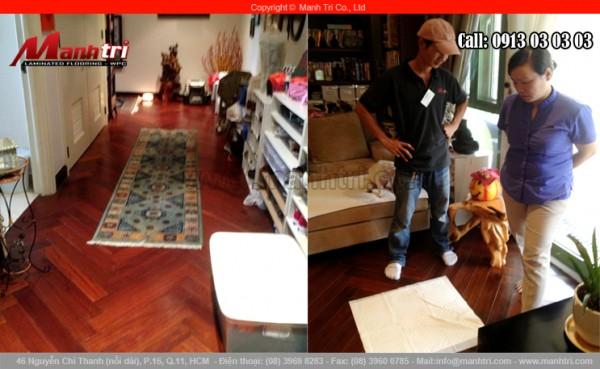 Hình ảnh sàn gỗ tự nhiên Căm Xe hoàn thiện tại nhà khách hàng quận 1, TPHCM