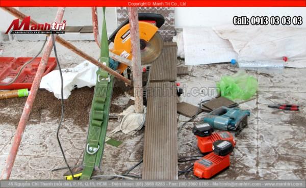 Hình ảnh dụng cụ dùng thi công sàn gỗ ngoài trời