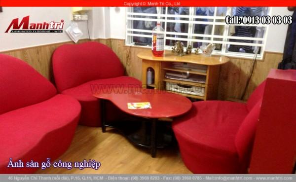 Hình ảnh sàn gỗ cùng gỗ ốp lamri cho phòng khách