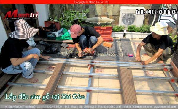 Hình ảnh lắp đặt khung xương cho sàn gỗ nhựa