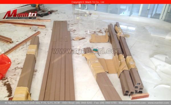 Hình ảnh những thanh lam gỗ nhựa được dùng ốp tường tại công trình