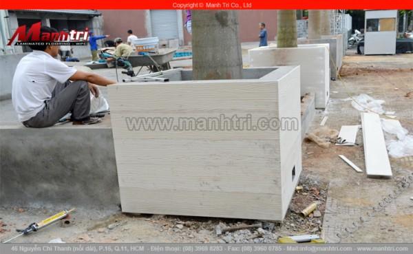 Hình ảnh tấm gỗ Conwood ốp khi hoàn thiện tại công trình