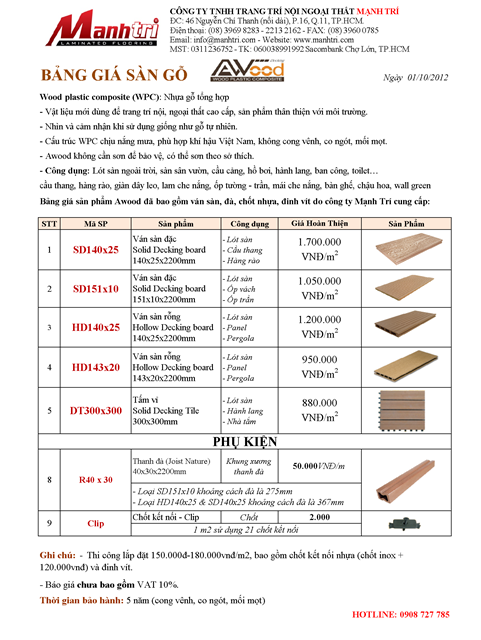 Bang giá sàn gỗ Awood