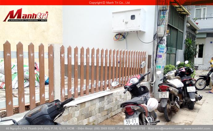 Hình ảnh hàng rào gỗ Conwood chưa sơn phủ tại công trình