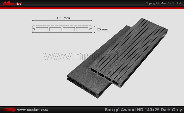 Sàn gỗ Awood HD140x25-4S Dark Grey