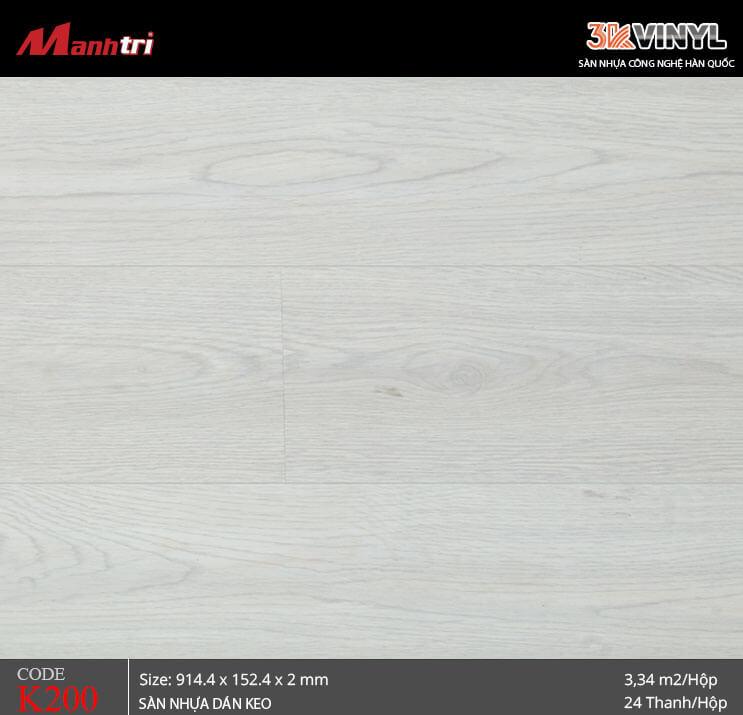 Sàn nhựa giả gỗ 3K Vinyl K200