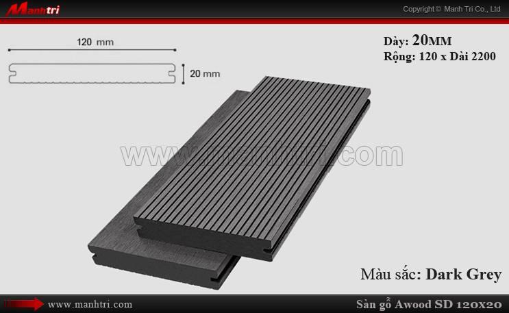 Sàn gỗ ngoài trời Awood SD120x20_Dark Grey