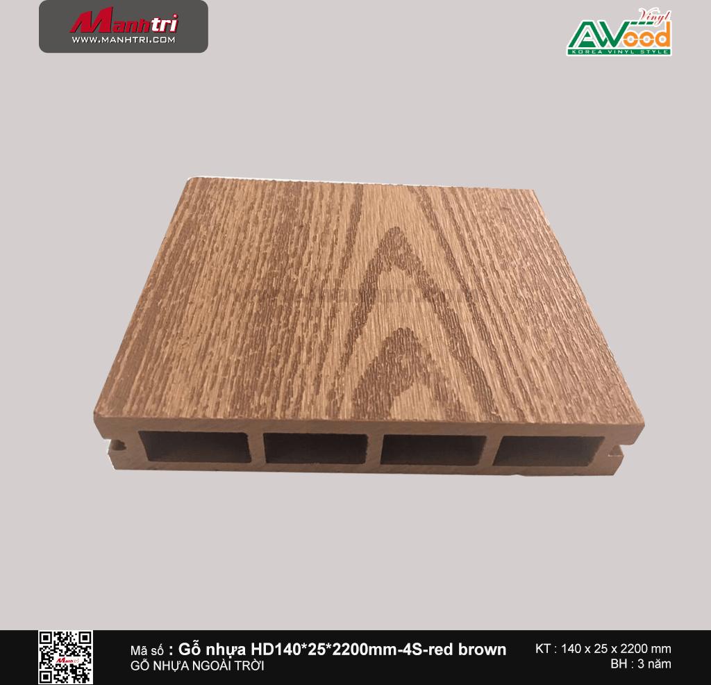 Sàn gỗ Awood HD140x25-4S Red brown