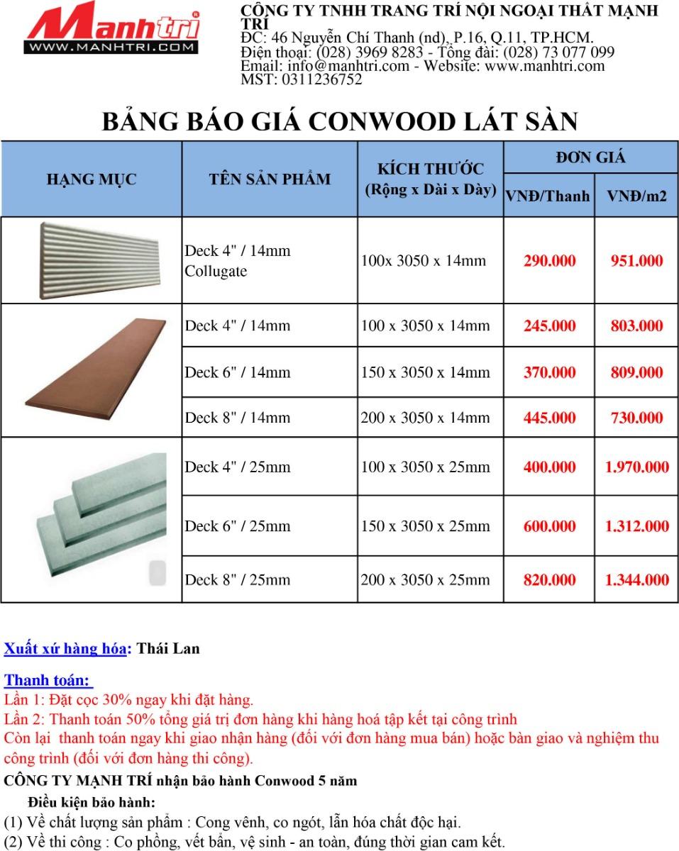 Bảng báo giá gỗ Conwood lát sàn