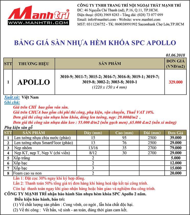 Bảng giá sàn nhựa hèm khóa Apollo